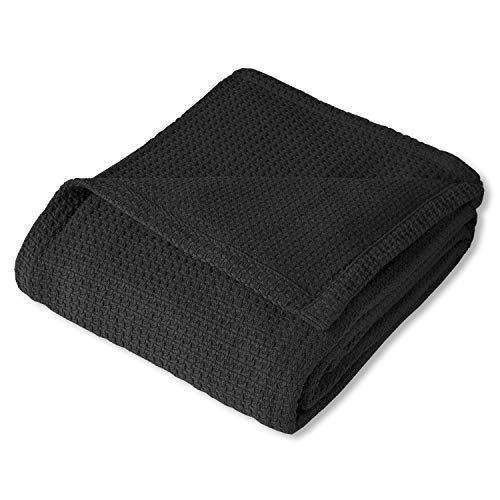 Sweet Home Collection 100% Fine Cotton Blanket Luxurious Basket Weave Stylish Design Soft and Comfortable All Season Warmth, King, Black