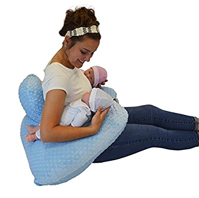 THE TWIN Z PILLOW - BLUE - 6 uses in 1 Twin Pillow ! Breastfeeding, Bottlefeeding, Tummy Time, Reflux, Support and Pregnancy Pillow! CUDDLE BLUE DOTS