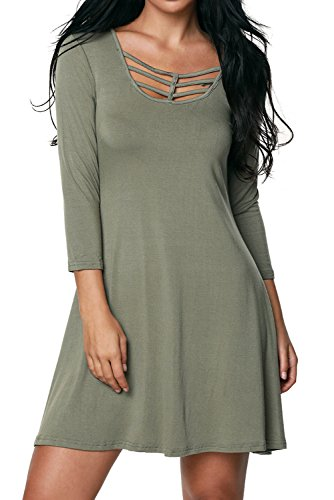 Alvaq-Womens-Best-Cage-Front-34-Sleeves-Loose-Blouse-T-Shirt-Dress