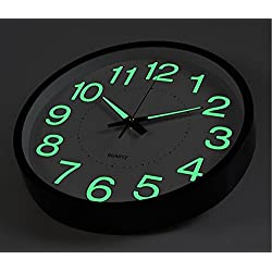 Virgin Forest Night Light Function,12-Inch Wall Clock Non-Ticking Large Luminous Number Battery Operated (black)