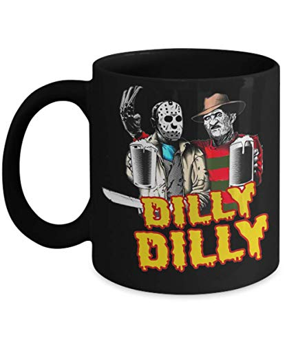 Dilly Dilly Halloween Mug 2019, Squad Drinking Beer, Gift Idea Dilly Dilly Halloween Mug, Jason and Freddy Drinking Beer -
