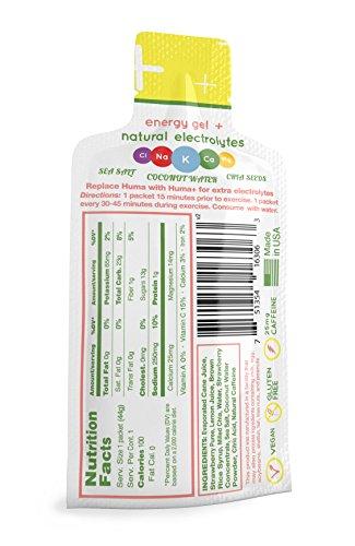Huma PLUS - Chia Energy Gel - Variety, 12 Gels - Natural Electrolyte Enhanced Energy Gel