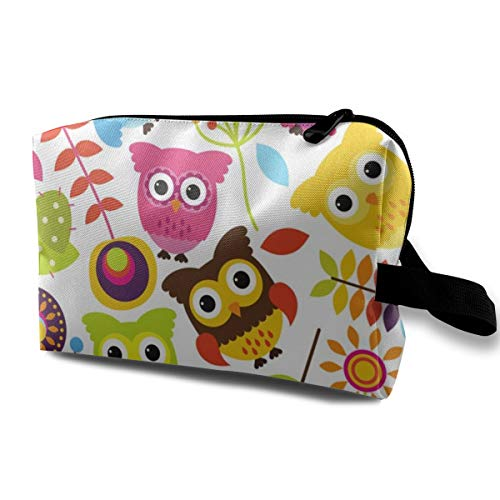 (Cosmetic bag for purse,Funky Flowers And Owls_4308,Oxford cloth Colourful Bag Mini Travel)