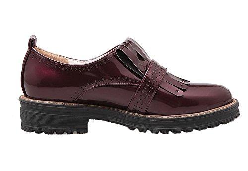 Amoonyfashion Womens Tacco A Spillo Scarpe Tacco Basso Pompe-scarpe Claret
