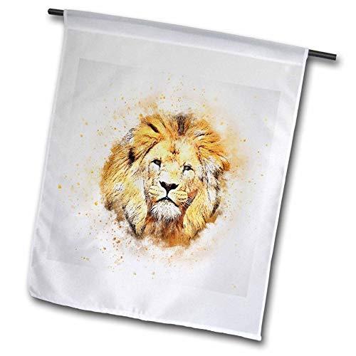 3dRose Lens Art by Florene - Watercolor Art - Image of Portrait Painting of Majestic Lion - 18 x 27 inch Garden Flag (fl_300361_2)