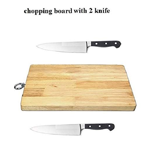 Wofier NewQ Wooden Chopping Board with 2 Knife | Meat Board | Cutting Board for Kitchen Vegetable Fruit Bread Meat Cheese Pizza and Also Serving Board (with 2 Kitchen Knife)(28 x 20 x 1.5 cm) Price & Reviews