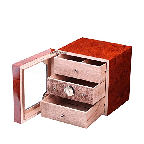 (JQKEYH Cigar Box, Cigar Cabinet Cigar Box With Hygrometer And Humidifier, Spanish Cedar Wood Lining And 3-layer Drawer, Tempered Glass Door)