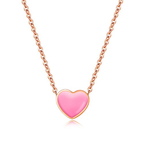 JJ WAY Exquisite Small Pink Love Heart Choker Necklace Jewelry for Women - Heart Pink Necklace
