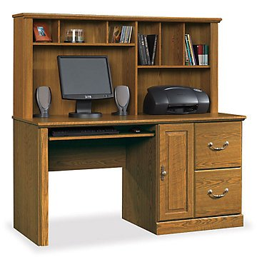 Orchard Hills Computer Desk with Hutch(Carolina Oak)