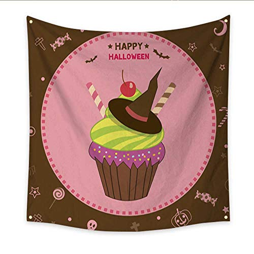 Anniutwo Hanging Tapestry Witch Cupcakes Halloween Bedspread Dorm Accessories Decor 47W x 47L Inch