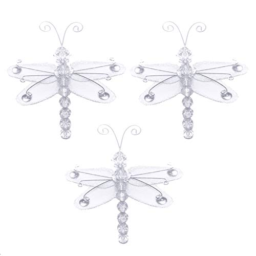 Dragonfly Decor 3 White Mini X-Small Wire Hanging Nylon Mesh Dragonflies 3 Piece Decorations Set Decorate Baby Nursery Bedroom Girls Room Wall Wedding Birthday Shower Craft Scrapbook Invitations DIY
