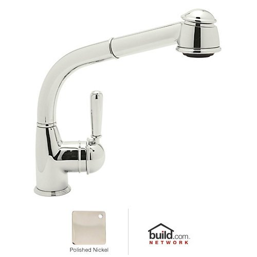 Rohl R7903LMPN Single Hole Side Metal Lever Country Pullout Kitchen Faucet with 9-5/8-Inch Reach Long Handspray and Hose, Polished Nickel (Lever Handspray)