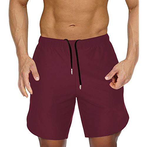 - Men's Gym Workout Shorts Running Short Pants Fitted Training Bodybuilding Jogger with Zipper Pockets Red M Tag XL