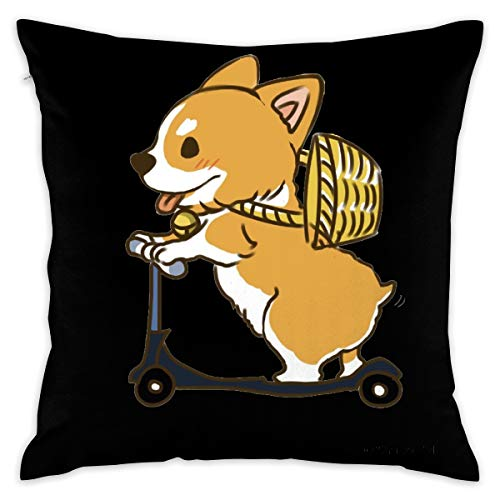 - Pockets Skateboarding Corgi 16''x 16'' Square Throw Pillow Inserts with Pillow Covers Cushions for Couch Bedroom Car