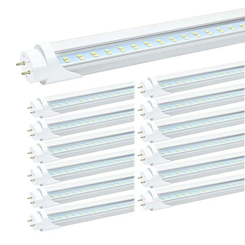 JESLED T8 4FT LED Light Bulbs, 24W 5000K Daylight 3000LM, T10 T12 LED Tubes Replacement, 4 Foot LED Shop Light Bulbs for Garage Fluorescent Fixture, Clear, Dual-end Powered, Ballast Bypass (12-Pack)