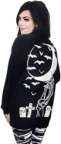 [Patrocinado] Demasiado rápido de la mujer Esqueleto Mano Cementerio largo chaqueta de punto Sweater