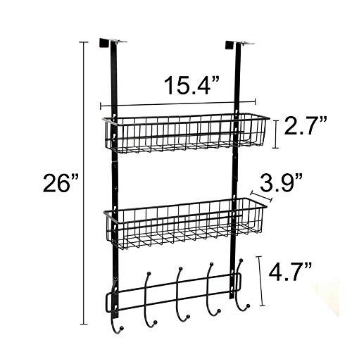 Wittywares Over The Door Hook Hanger Three Tiers with 10 Hooks and Mesh Basket Adjustable Storage Rack Wall Hook for Coats Hats Robes Towels by Wittywares (Image #5)