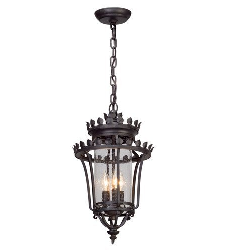 (Outdoor Pendant 3 Light with Forged Iron Finish Hand-Forged Iron with Aluminum Material Candelabra 20 inch Long 180 Watts)