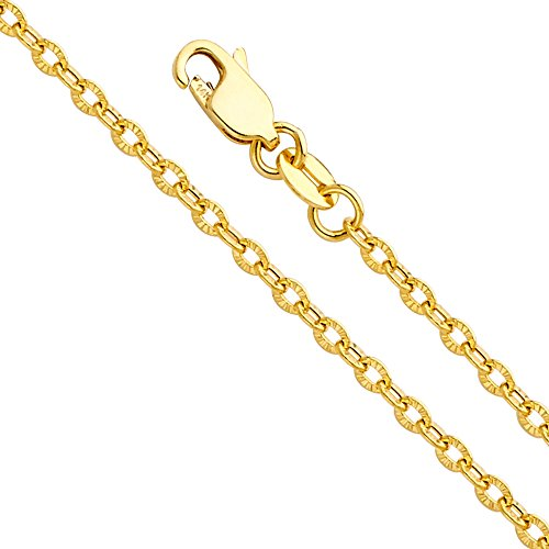 14k Yellow Gold 2mm Hollow Sunny Cable Diamond Cut Chain Necklace with Lobster Claw Clasp - (14k Real Gold Cable Chain)