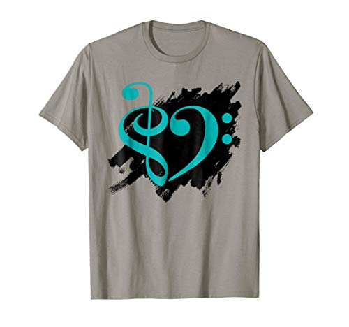 Treble Clef Bass Clef Turquoise Heart Grunge Brush Strokes Music Lover Bassist T-Shirt