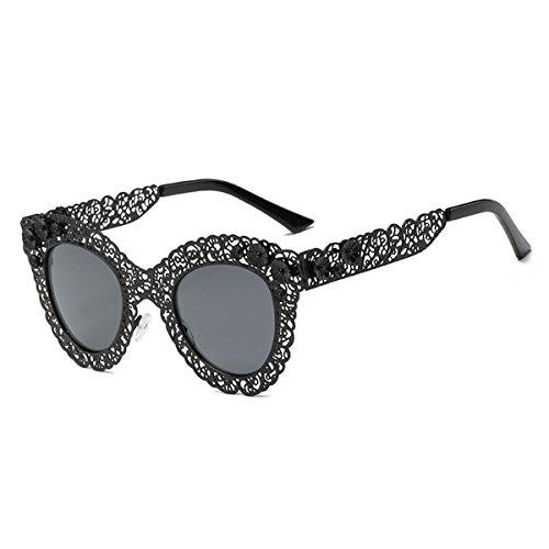Gafas Gafas Encaje Gafas Ojo de Sol C Gato de para Sol Gafas Estilo Sol Encaje D Color Retro de Mujer SYAODU de de z5qFAF