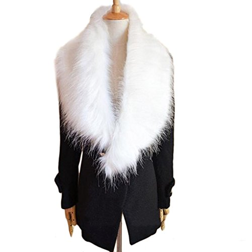 Usstore Womens Faux Fur Collar Scarf Shawl Collar Wrap Stole Scarves (White)
