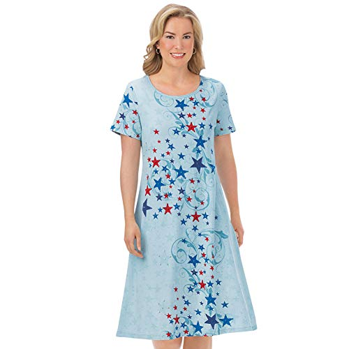 Collections Etc Women's Americana Stars and Scroll Print Short-Sleeve Dress - Perfect Patriotic Summer Sun Dress, Blue Multi, X-Large