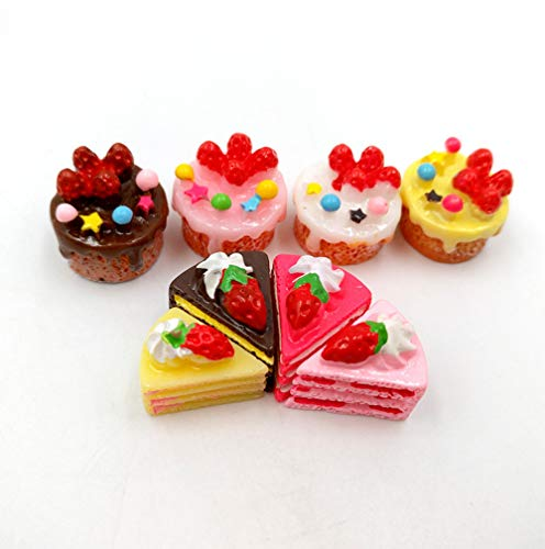 unbrand 8pcs Strawberry Cake Food Resin Charms DIY Gift LPS Littlest Pet Shop Accessories ()