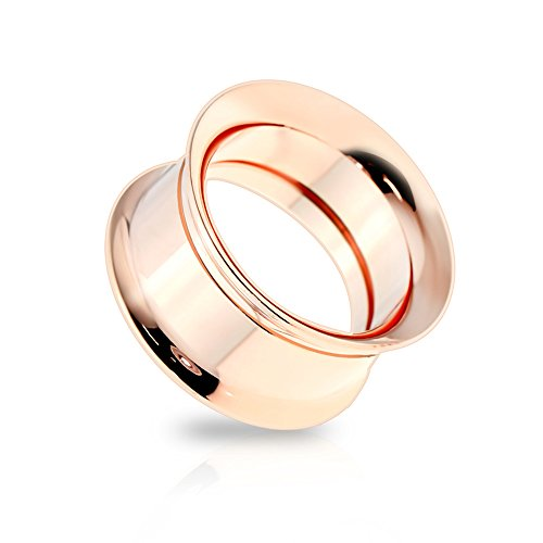 - Dynamique Pair of Internally Threaded Double Flare Rose Gold IP Screw-Fit Tunnels 316L Surgical Steel