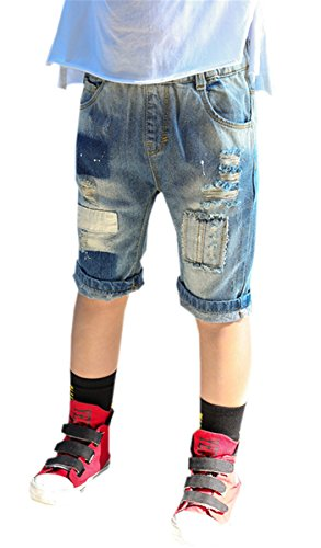 Toddler & Little Boys Elastic Waist Ripped Jeans Short Denim Pants, Blue, Tag Size 110 = US 3-4Y/Height 43.3'' by Betusline Kids