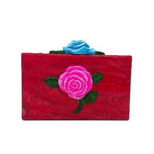 le sac de paquet de Rétro épaule à d'épaule rose fleur bal mariage chaîne national soirée de vent pour à main sac Blue bandoulière sac Z1qHr6xwZ7