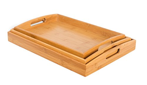 BirdRock Home 3 pc Breakfast Bed Tray (Rounded) | Bamboo | Cut Out Handles | Set of 3 | Bamboo | Nesting