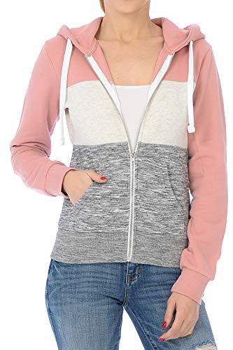 Urban Look Womens Active Long Sleeve Fleece Zip Up Hoodie (Small, C1 Mauve) (Fleece Print Sweatshirt)