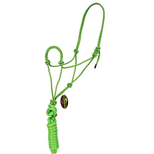 Southwestern Equine Rope Halter & Lead Rope Mountain Rope Diamond Braided for Comfort (Lime/Black)