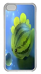 Tranparent PC Case Cover For iPhone 5C Durable Hard Plastic Cellphone Back Shell Skin For iPhone 5C with Watermelon Dinosaur