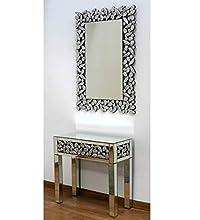 DRW Conjunto recibidor y Espejo de Espejos con Brillantes onsola: 80x80x35 cm. Medidas Espejo: 80x120x1.7 cm