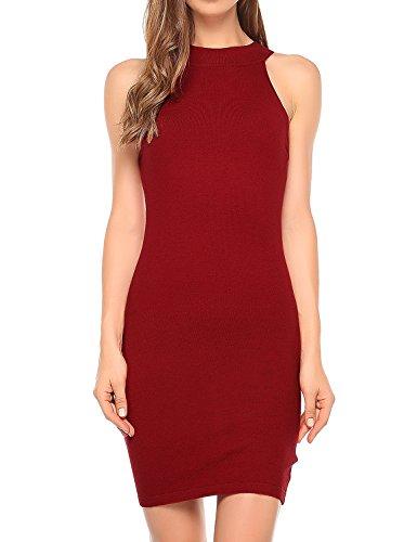 Match Women's Knit Halter Dress (L, 126 Red)