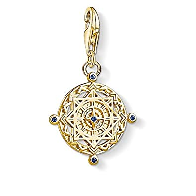 Thomas Sabo Unisex 925 Sterling Silver Charm Vintage Compass Charm Club Yellow Gold Plating Pendant 1662-922-39 RsXzsFyTEw