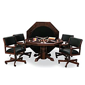 54″ Combination Game Table Set w/ 4 Chairs (Mahogany)
