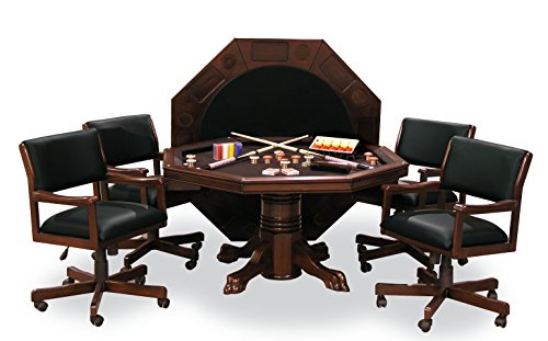 Signature Combination Game Table Set w/ 4 Chairs (Mahogany) - Dining Room Mahogany Game Table