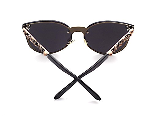 Women's Metal Half Frame Semi-Rimless Cateye Skull Studded Sunglasses - UV400 by Pession (Image #2)'