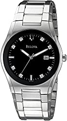 Bulova Men's 96D104 Black Dial 8 Diamonds Bracelet Watch