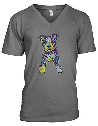 Neon Psychedelic Dog Men's V-Neck T-shirt (Medium, CHARCOAL)