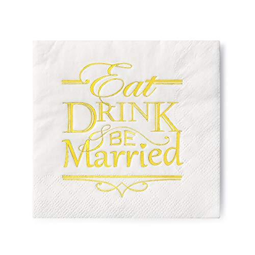 (Crisky 100 Pcs Napkins for Wedding Reception, Wedding Beverage Napkins 3-Ply Sparkling Gold Text Cocktail Napkins for Wedding Shower)