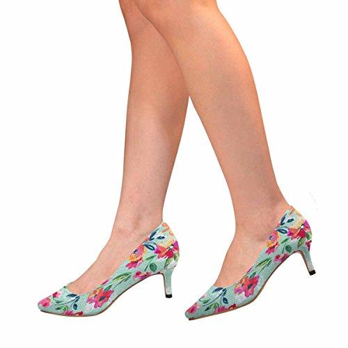 InterestPrint Womens Low Kitten Heel Pointed Toe Dress Pump Shoes Painted Flowers Multi 1 p9J3O6vU2