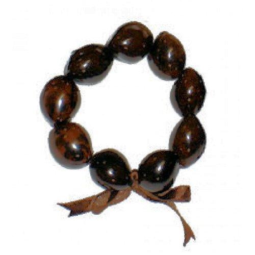 - Hawaiian Style Kukui Nut Bracelet Brown