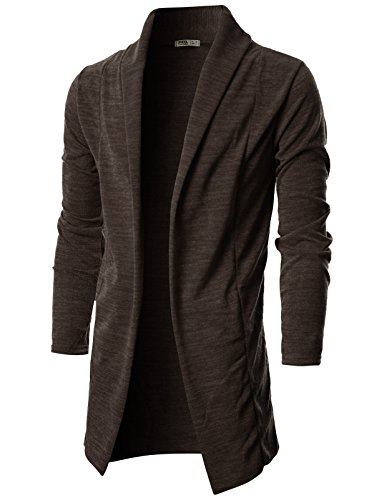 Ohoo Mens Long Sleeve Draped Lightweight Open Front Shawl Collar Longline Cardigan/DCC026-DARKBROWN-XXL