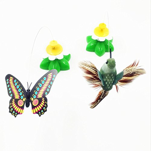 hot sale Pets Corner Market Pet Cat Toys Electric Rotating Colorful Butterfly and birds Funny Pet Scratch feather Toy For Cats Kitten interactive