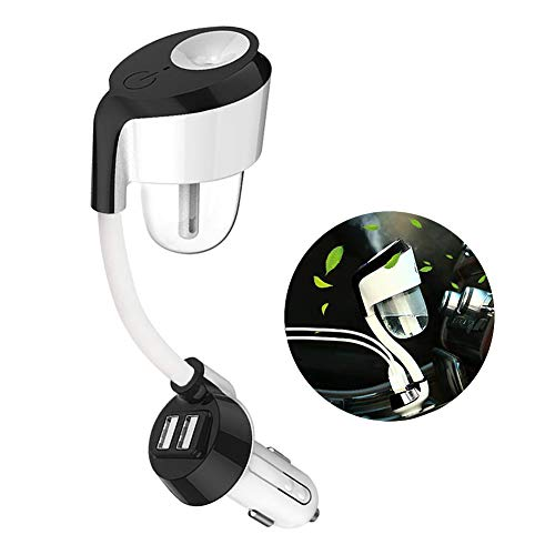 youcoulee Car Diffuser,Car Humidifier with 2 USB Car Charger,Mini USB Car Air Purifier with 360 Degree Rotation,Suit for Water Soluble Essential Oils Protable Diffuser