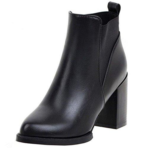 COOLCEPT Damen Sweet Pointed Toe Blockabsatz Knöchelriemchen Gemütlich Chelsea Stiefel Schwarz